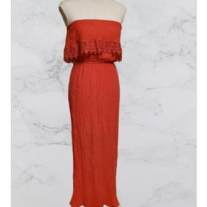 Trixxi strapless dress with slip coral color
